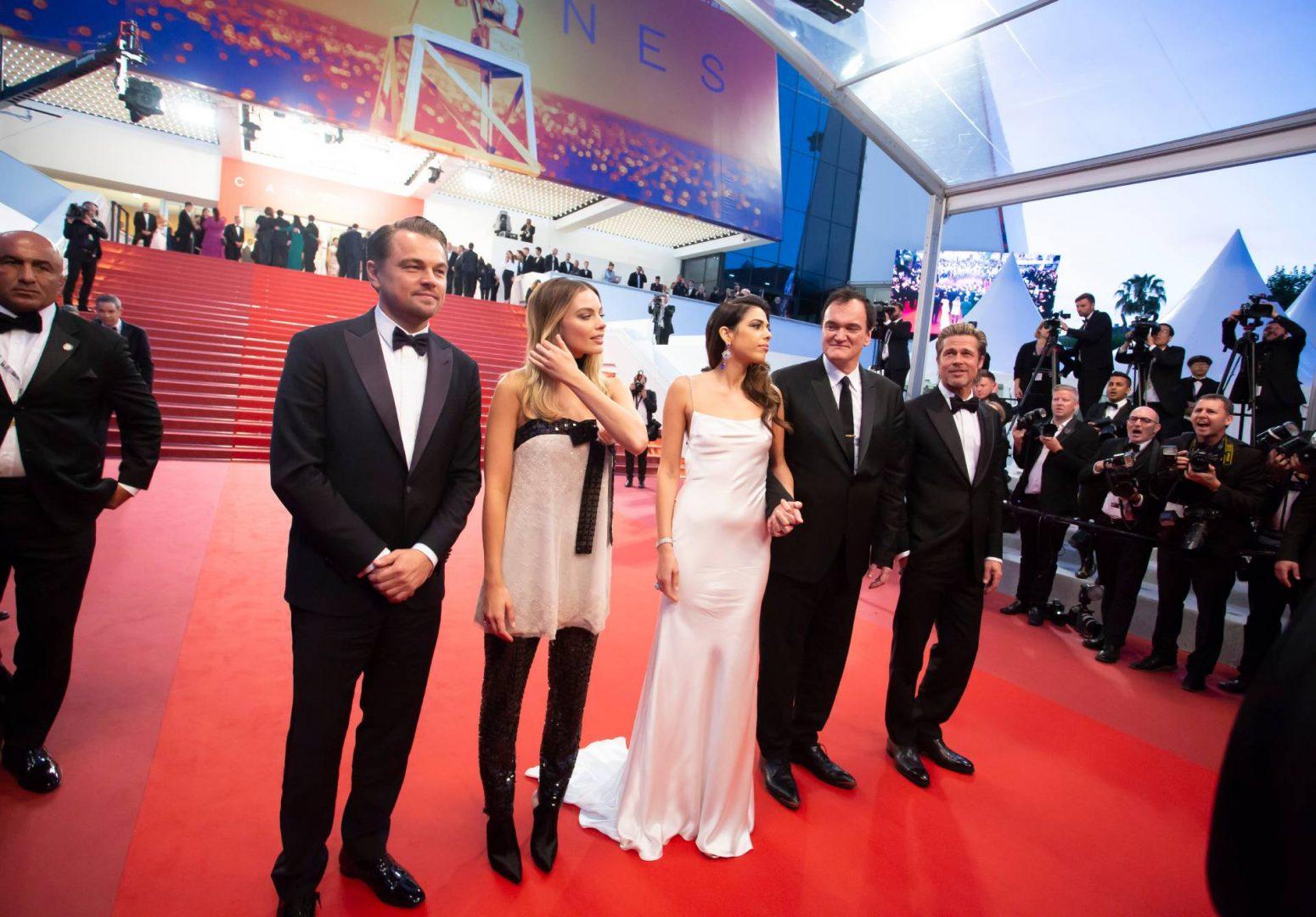 CANNES, FRANCE. May 21, 2019. Leonardo DiCaprio, Margot Robbie, Daniela Pick and Brad Pitt. | BAKOUNINE / Shutterstock.com