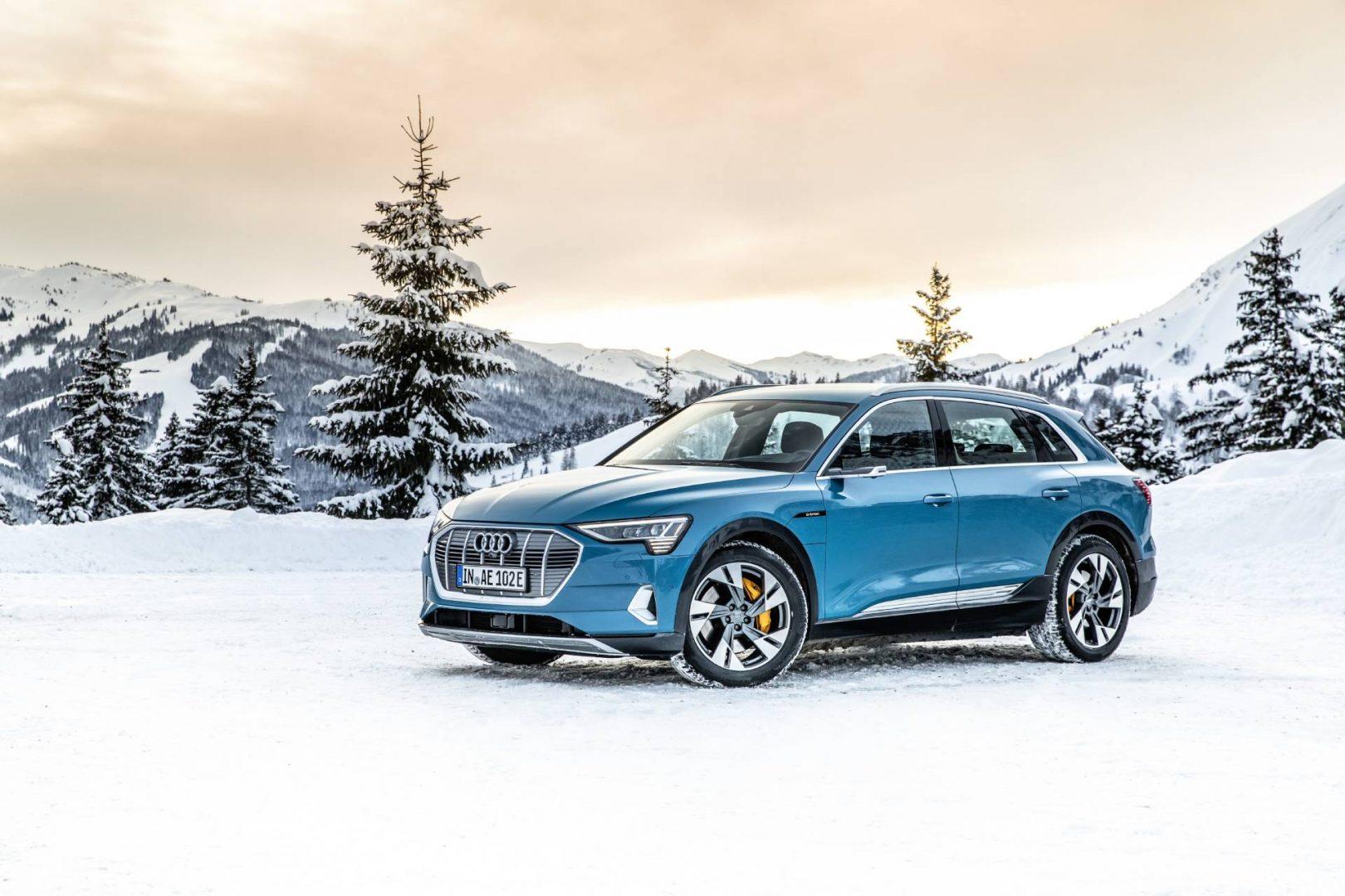 Audi e-tron in winter snow.