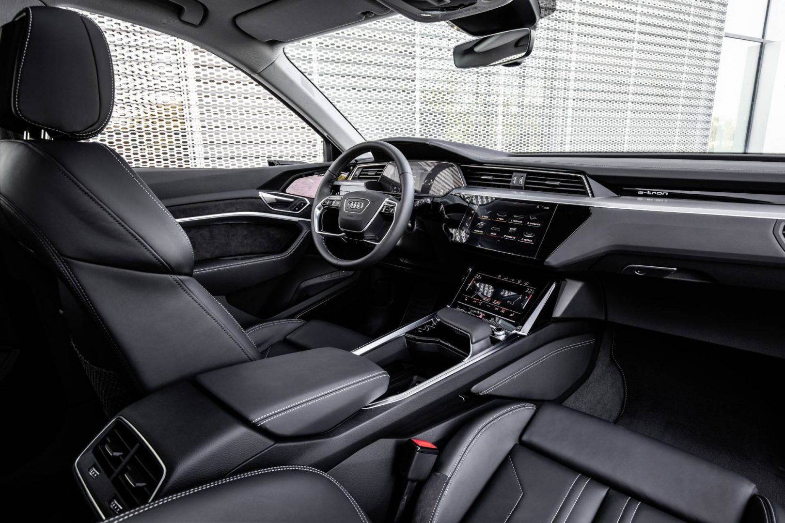 Audi e-tron interior front overview.