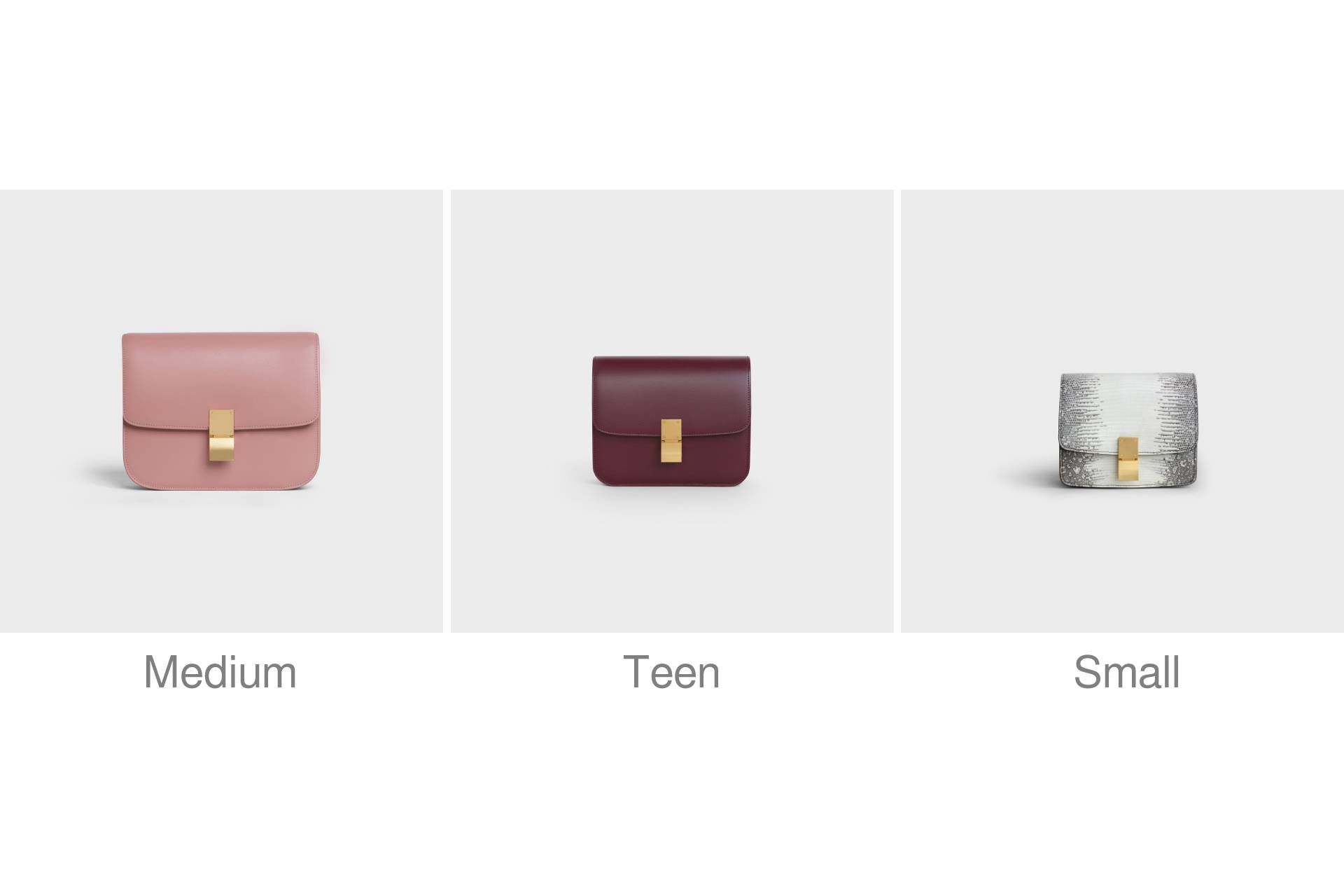 Celine Classic bag size comparison. Medium in Antique Rose, Teen in Burgundy, Small in Lizard. Gift for mother, sister, wife, girlfriend.