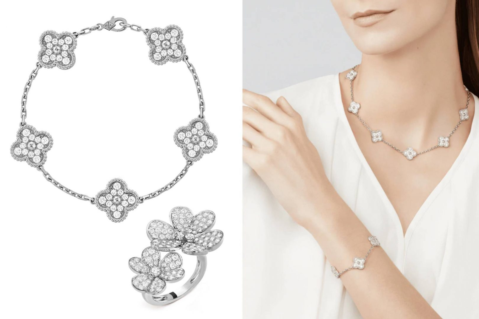 Van Cleef & Arpels Diamond Breeze. The Vintage Alhambra bracelet, and the Frivole Between the Finger ring. Gift for wife, girlfriend.