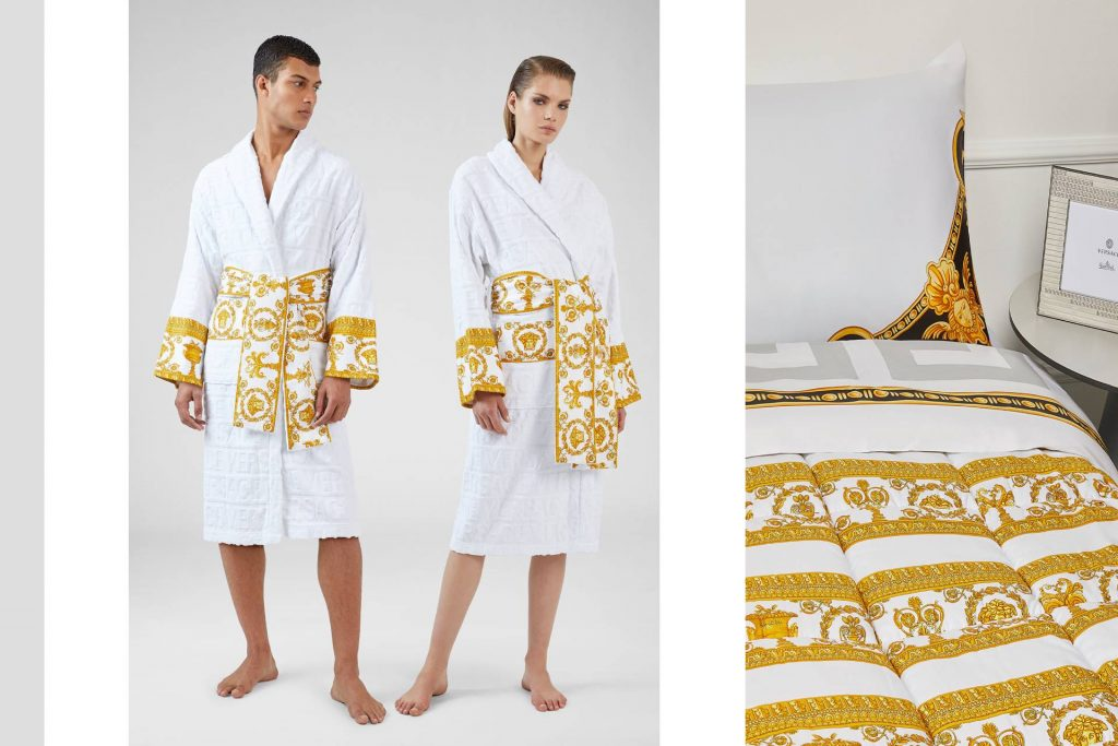 Versace I ♡ BAROQUE and Crete de Fleur Pillowcase. Credit: Versace Website