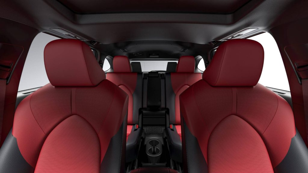 Available red and black leather interior of the 2021 Toyota Highlander XSE. Credit: Toyota Newsroom